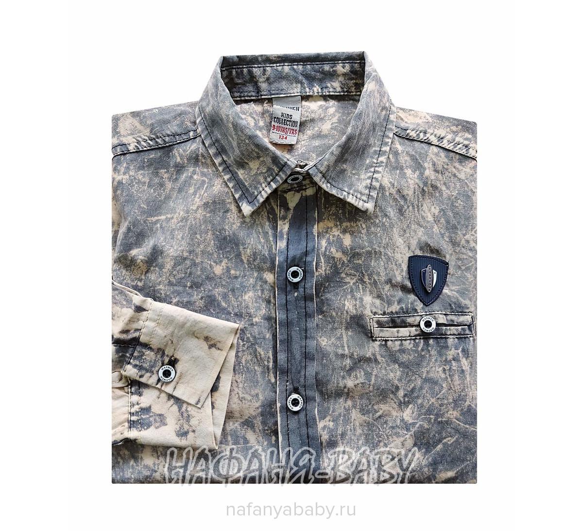 Детская рубашка WAXMEN арт: 5099-0, 5-9 лет, цвет хаки песочный, оптом Турция