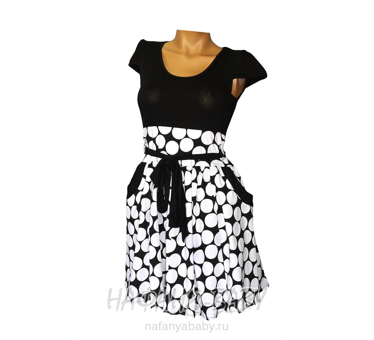 Летнее платье DORIN арт: 7129, 10-15 лет, цвет верх - черный, низ - крупный белый горох, оптом Турция