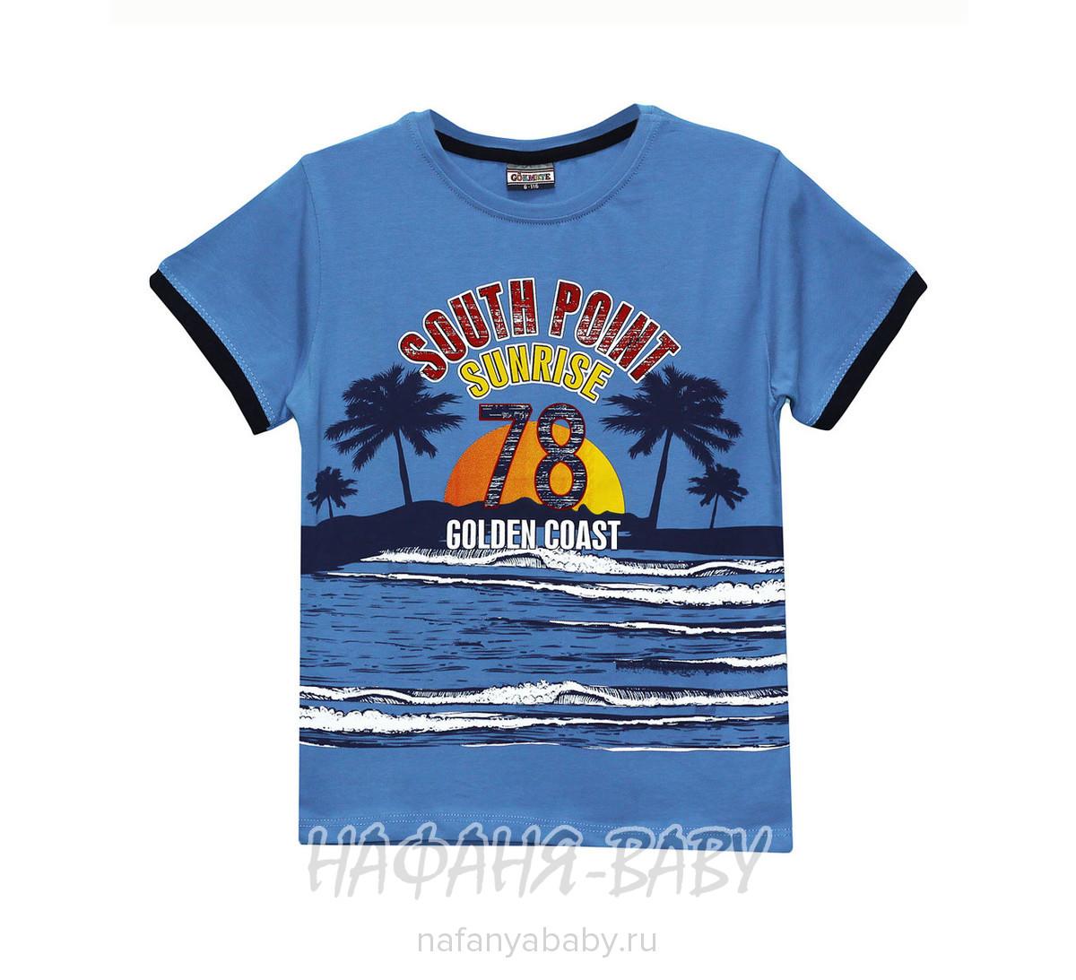Детская футболка GOKMETE арт: 7866, 5-9 лет, цвет лазурный, оптом Турция