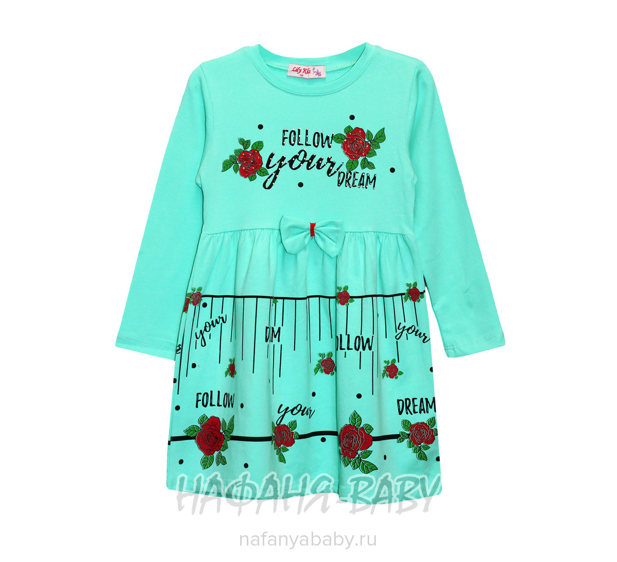 Детское платье LILI KIDS арт: 3040, 5-9 лет, 1-4 года, цвет бирюзовый, оптом Турция