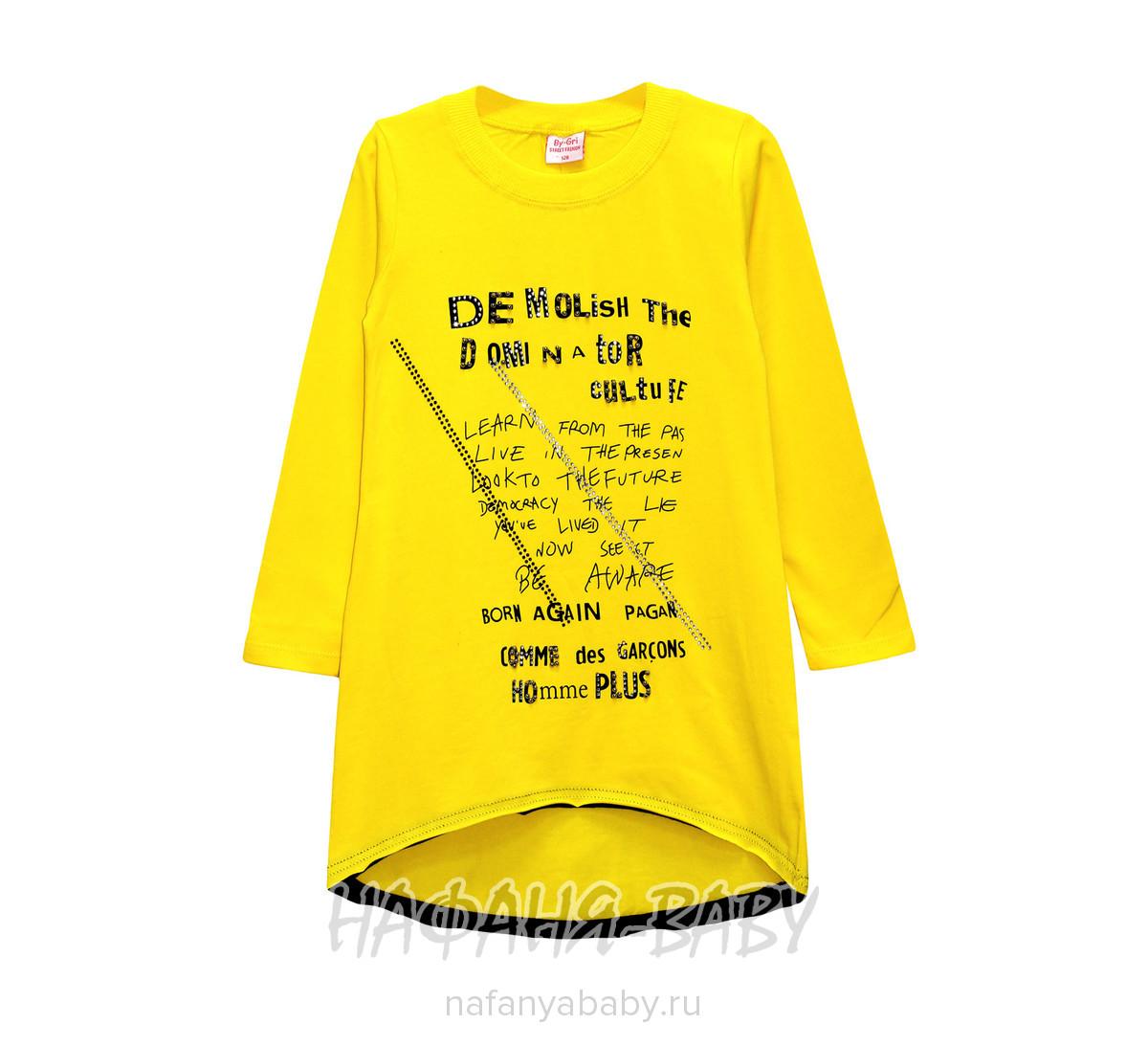 Детская трикотажная туника BY GRI арт: 13860, 10-15 лет, 5-9 лет, цвет желтый, оптом Турция