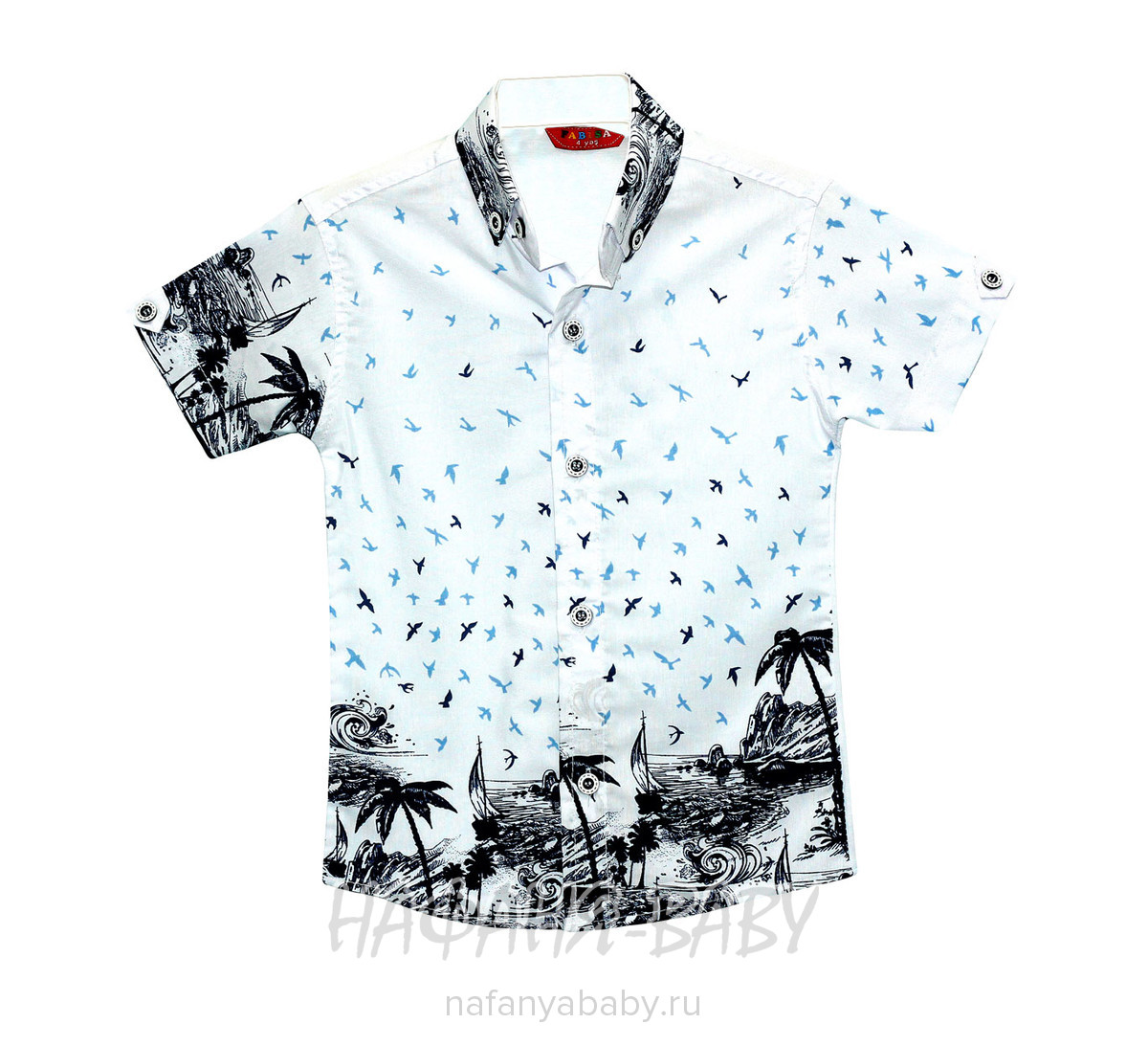 Детская рубашка, артикул 106 FABISA арт: 106, 1-4 года, цвет белый с голубым, оптом Турция